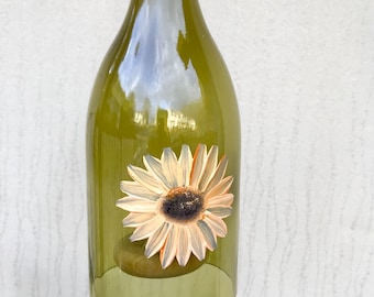 Sunflower Wind Chimes Handmade from Recycled Wine Bottles