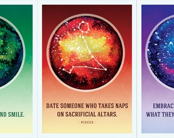 Horoscope Postcards - Aries, Taurus, Gemini, Cancer, Leo, Virgo, Libra, Scorpio, Sagittarius, Capricorn, Aquarius and Pisces.