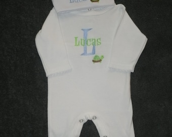 Personalized Infant Sleeper Romper and Cap set Monogrammed Coming Home Outfit Turtle
