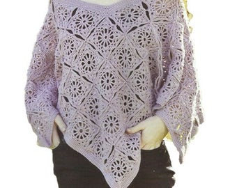 Crochet Granny Square Poncho PDF Crochet Pattern Instant Download