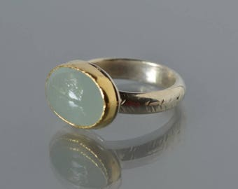 Aquamarine Ring in Silver and Gold, Milky Aquamarine Cocktail Ring-  Aqua Cabochon Ring, March Birthstone , Horizontal Ring, Made to Order