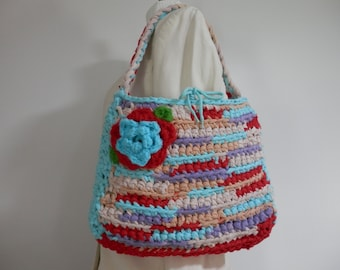 11x14x2 Tshirt Yarn Crochet Novelty Hand Bag Purse Upcycle Carry All Eco Craft Turquoise Red Ecru Ecofriendly School Market Beach New Design