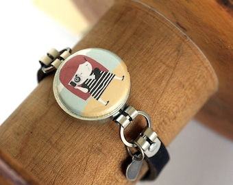 FOCUS Photographer Magnetic Bracelet - Interchangeable - Camera Jewelry -  Leather Bracelet - ANY SIZE - Recycled by Polarity - YaelFran