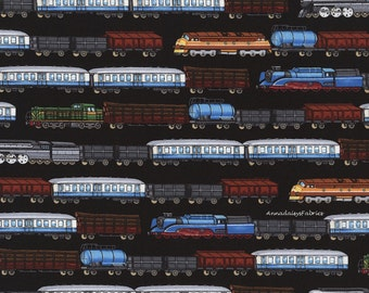 Train Fabric, Timeless Treasures GM3796 Black, Trains in Rows, George McCartney, Train Quilt Fabric, Railroad Fabric, Cotton Yardage