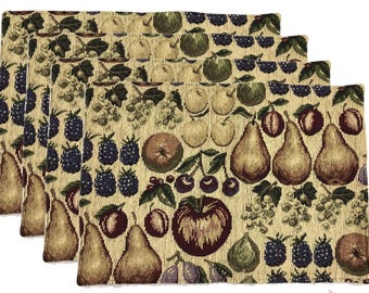 """Handmade Set of 4 Placemats Tapestry with Fruit 19"""" x 13"""" Perfect for Thanksgiving - Corduory Look and Feel"""