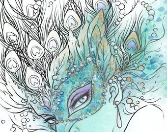 Digital Stamp - Peacock Masquerade - Instant Download - Woman with Feathered Mask -Line Art for Cards & Crafts by Mitzi Sato-Wiuff