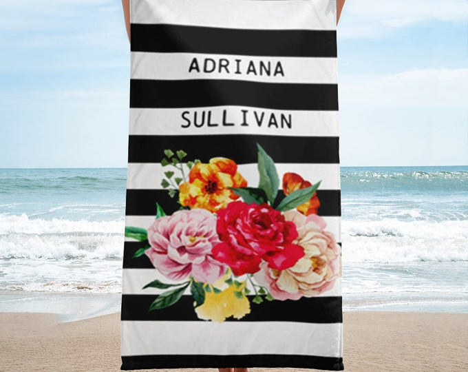 Floral Striped Personalized Beach Towel | Personalized beach towel | Personalized beach towel adult | Personalized beach towel bachelorette