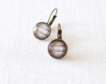 Planet Jupiter Earrings. Solar System Earrings. Space Earrings. Universe Earrings. Jupiter Stud Earrings.