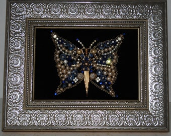 Vintage Framed Jewelry Art Blue And Gold Butterfly
