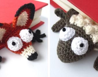 Amigurumi Fox and Sheep Bookmark Crochet Patterns