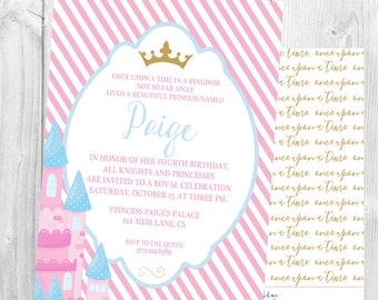 Princess Birthday Invitation, Princess Party, Girl Birthday, Pink, Crown, Castle