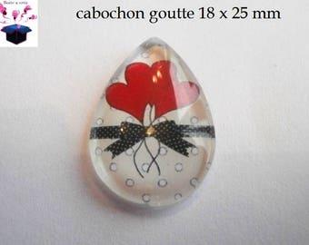 1 cabochon clear drop 18 x 25 mm