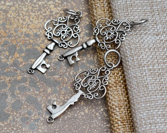 Skeleton Key Pendant Sterling Silver Filigree Key Old Antique Key Charm Key to My Heart Jewelry Key Necklace Jewelry Making One, BS17-1111G