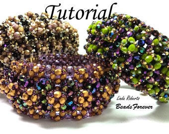 Beading Tutorial - Quadruple Jazz Bracelet - Fire Polished Beads - RAW and CRAW