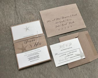Beach Wedding Invitation Set Starfish Wedding Invitation