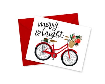 """Merry and Bright, Christmas Card, Bicycle, Holiday Greeting Card, Holiday Gift Set, Blank Notecard, Envelope, For Her, For Him, 4.25"""" x 5.5"""""""