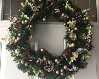 Front Door Wreath, Christmas Wreath,Winter Wreath, Home Decor, Handmade Wreath,Evergreen Wreath, Golden Wreath