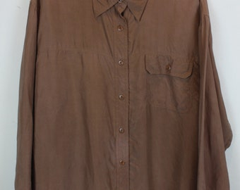 Vintage shirt, 80s clothing, shirt 80s, brown, long sleeves, oversized, silk (KK/06/086)