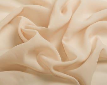 0019 light cream Chiffon Fabric, Soft Chiffon fabric, Fabric by the meter bridal dress,chiffon garment, chiffon fabric skirt-1 / meter,