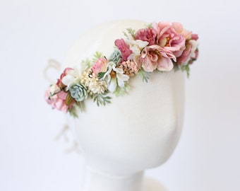 flower crown headband, flower crown baby, toddler flower crown, floral baby headband, flower crown toddler, girls headband, baby photo prop