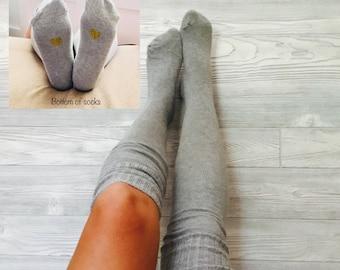 Thigh High Socks Gray Black Ivory Super Cute Gold Heart Design Over the Knee