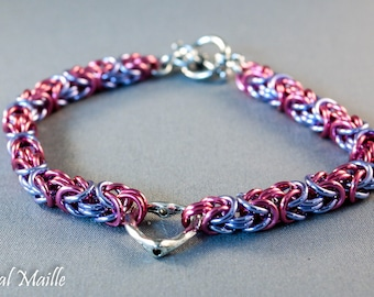 Pink and Lavendar Byzantine Chainmaille Bracelet with Heart Focal