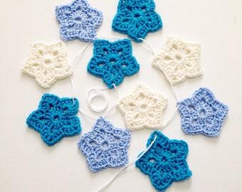 Nursery Decor, Nursery Bunting, Crochet Garland, Banner, New Baby Gift, Blue Stars, Star Garland, Boys Room, Gift for a Boy