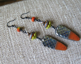 orange and gunmetal raku earrings, long modern earrings, orange contemporary earrings, raku ceramic modern jewelry, orange and gray earrings