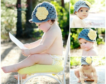 Crochet PATTERN - Breezy Brimmer - Newsboy, Open-Weave Beanie - ALL sizes included - - Easy - PDF 115 - Sell what you Make