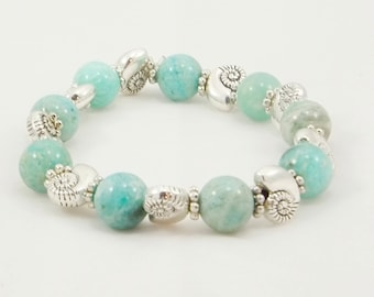 Turquoise Russian Amazonite Beaded Bracelet, Women's Accessories, Fashion Jewelry, Chic Bracelet, Gifts for Her, One of Kind, Handmade