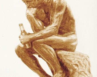 beer art, The Drinker, painted using only beer, Rodin, The Thinker, funny, pub art