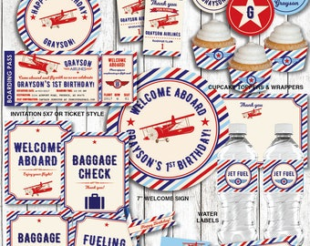 Airplane Birthday Decorations, Airplane Party Decorations, Vintage Airplane Birthday, Printable PDF Files