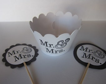 Set of 24 pcs, 12 Wedding Cupcake Wrapper and 12 Picks, Priority Mail Shipping