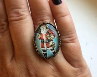 Santa Claus Ring, Vintage Christmas Ring, Christmas Jewelry, Christmas Ring, Sterling Silver Ring, Christmas Gift, St. Nicholas Ring