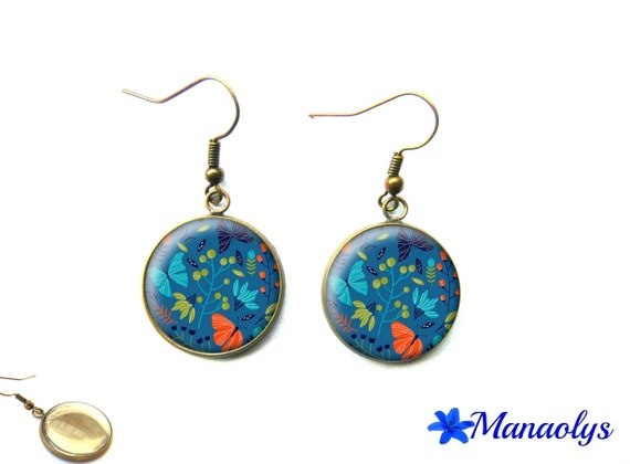 Earrings bronze color, retro, vintage, butterflies and flowers, blue, orange and green 2577 glass cabochons