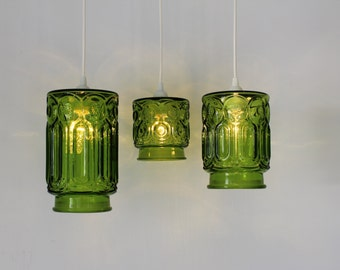 Green Stars and Moons, 3 Upcycled Hanging Pendant Lighting Fixtures made from Vintage Green Glass Kitchen Canisters, OOAK BootsNGus Lamps