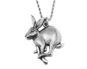 Mad March Hare Pewter Pagan Pendant Necklace