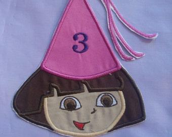 Dora  Birthday Hat    Iron on patch