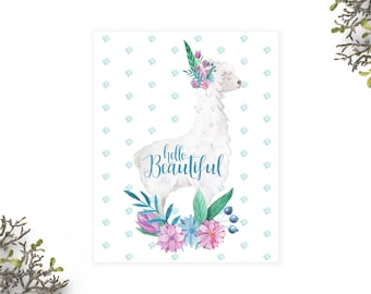 Hello Beautiful quote printable poster, Watercolour Llama and flowers print, Baby room decor, Instant Download,Baby girl nursery quote print