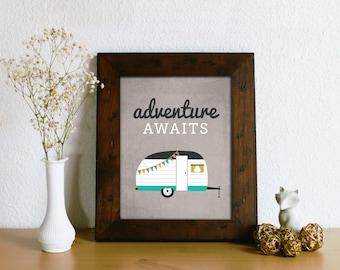 Vintage Camper Print - Adventure Awaits Home Decor Art