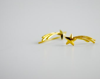 Shooting Star Gold-Plated Sterling Silver Ear Climbers