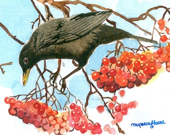 ACEO Limited Edition 1/25- Blackbird, Art print of original  watercolor, Collectible art,Miniature painting,Gift idea