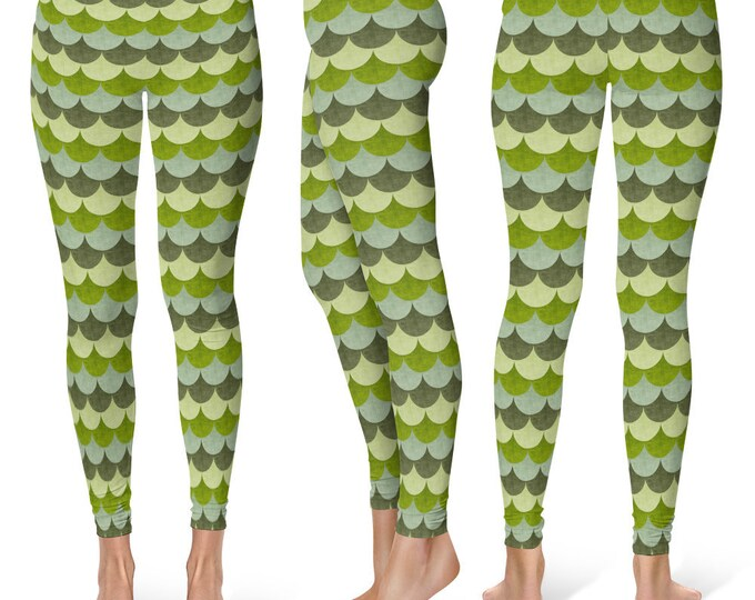 Dragon Leggings Yoga Pants, Printed Yoga Tights for Women, Green Scales Pattern