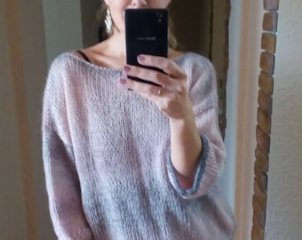 Mohair hand knit women trendy sweater Mohair gray pink sweater READY to ship Women mohair sweater