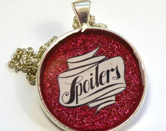 """Dr. Who Doctor Who Geeky River Song """"Spoilers"""" Resin Pendant"""