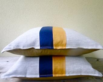 Nautical stripes linen pillow cover 16x16 - stripey cushion - linen canvas pillow - modern seaside decor - mustard navy natural pillow
