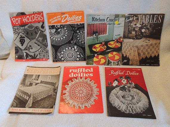 7 Vintage Crochet Pattern Books 1930s-40s Tablecloths Doilies Potholders Bedspread