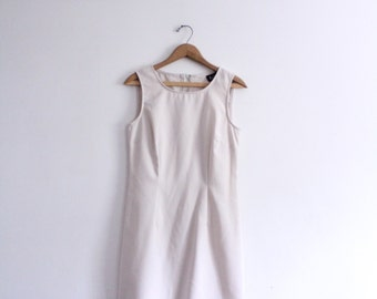 Minimal Beige 90s Mini Dress