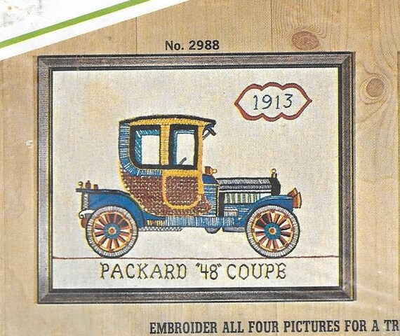 Vintage Crewel Embroidery Kit Antique Cars Packard 48 Coupe