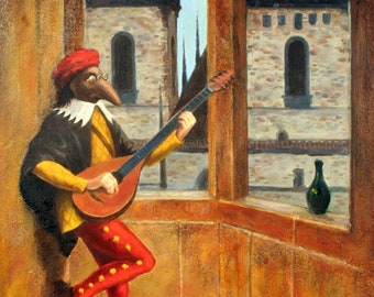 In Song at Orloj, oil, painting, wall art, Prague, Astronomical Clock, Czech Republic, Commedia dell'arte, masks, theatre, mandolin